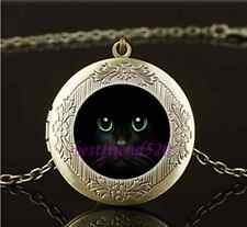 Vintage Black Cat Green Eye Photo Glass Brass Chain Locket Pendant Necklace