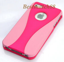 for iPhone 4 4g 4s hard back rubber ized case pink & hot pink & film\