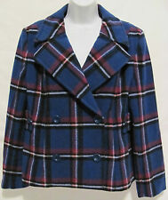 JG Hook Blue Plaid Wool Blend Coat Jacket Women's 10P Petite Junior Formal Casua