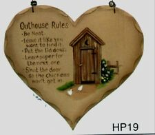 "8x7"" Country Wood Heart  OUTHOUSE RULES Primitive Bath Bathroom Wall Decor  Sign"