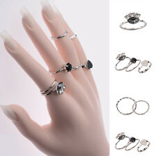 9Pcs/Set New Korean Hot Fashion Heart Cut Ring Band Gemstone Women's Rings Sz-L