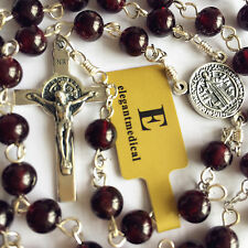925 STERLING SILVER 5 Decade ROSARY CROSS GARNET GEMSTONE BEAD NECKLACE BOX
