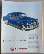 1949 magazine ad for Plymouth - blue Special Deluxe Car Likes To be Compared