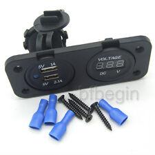 New Motorcycle Waterproof Dual USB Socket Charger Phone Voltage Volt Gauge Meter