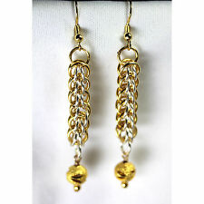 Silver and Gold Chain Maille Earrings-Full Persian