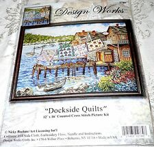 """Design Works Counted Cross Stitch Kit DOCKSIDE QUILTS 12"""" x 16"""""""