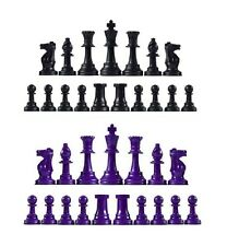 Staunton Single Weight Chess Pieces - Full Set of 34 Black & Purple - 4 Queens