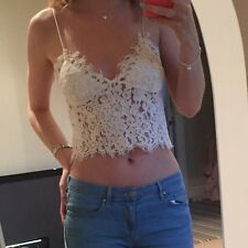 Zara Cream Beige Crop Top Lace Bralet Size Xs