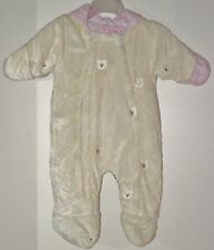 COTTON CANDY Size 0-3 M Yellow Pink Fleece Footed Hooded Long Sleeve Snowsuit