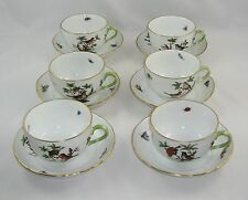 "Set Of 6 Herend Rothschild Bird ""CUPS & SAUCERS"" 1726/RO"