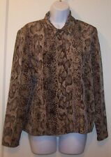 TR BENTLEY Top M Brown Snakeskin Print Button Front Long Sleeve Blouse