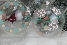 GISELA GRAHAM CHRISTMAS CLEAR GLASS VINTAGE BAUBLE WITH PICTURE DISC X 2