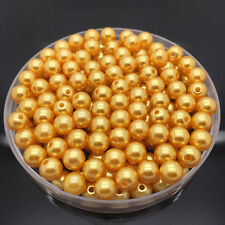 New 50Pcs 8mm Acrylic Round Pearl Spacer Loose Beads Jewelry Making Golden