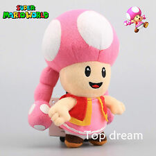 Super Mario Bro. Toad Toadette Female Girl Figure Plush Toy Doll 7'' Kids Gift