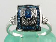 CLASS 9CT 9K WHITE GOLD Sri Lankan BLUE SAPPHIRE & DIAMOND ART DECO INS RING