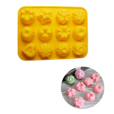 Silicone Flower Mold 12 Cupcake Decoration Cake Pan Baking Tools Chocolate Mold