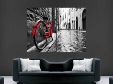 BICYCLE POSTER RED PUSH BIKE CLASSIC PEBBLED CITY STREET WALL ART PHOTGRAPHY
