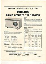 Philips B2G25U table radio receiver Service information 6 glossy pages