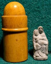 Old WOOD POCKET SHRINE w/ METAL STATUE PIETÀ