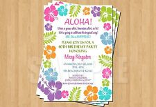 Luau Tropical Color Hibiscus Birthday Party Bridal Shower Invitations Adult Teen