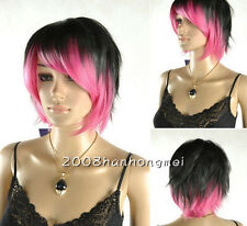 Fashion Latest Short Black Pink mixed Woman's lady Like real hair Wigs +wig cap