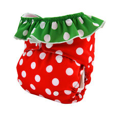 Alva Washable Reusable Baby Gril Cloth Diaper Double gusset  Strawberry Nappy