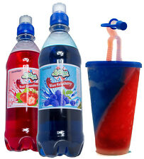 Blue Raspberry & Strawberry Slush Syrup Twin Pack FREE Snowcone split Drinks cup