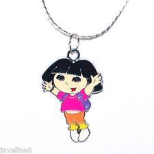 Pendentif + Chaine Plaquée Offerte ♥ Dora ♥ Bijoux Argenté Enfant Ado  # AN 8