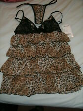 DREAMGIRL . BABYDOLL LINGERIE WITH THONGS, LEOPARD  DESIGN. BNWT. SIZE S.