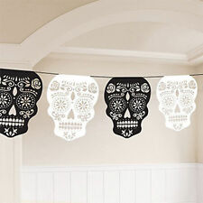 Halloween Black & White Skulls Bunting Day of the Dead Party Banner Decoration