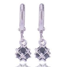 Black Onyx 9K White Gold Filled Megic Ball Womens Long Dangle Earrings Vintage