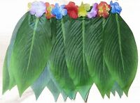 Hawaiian Hula Grass Leaf Skirt with Flowers Fancy Dress