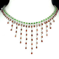 Silver 925 Genuine Natural Chrome Diopside & Garnet Waterfall Necklace 18.5 Inch