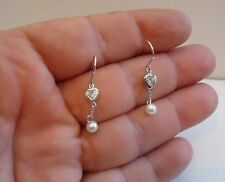 925 STERLING SILVER LADIES DANGLING EARRINGS W/ 5MM ROUND PEARL & 1 CT DIAMOND