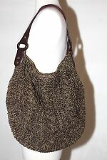 GAP NATURAL WOVEN PAPER SUEDE LEATHER WOOD TOTE BAG SHOULDER PURSE GREEN BROWN
