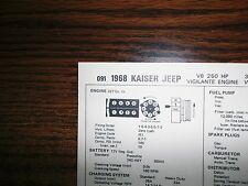 1968 Kaiser Jeep Series Models 327 CI V8 SUN Tune Up Chart Great Condition!