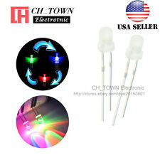 100pcs Diffused 3mm RGB 2 pin Fast Automatic Flash Rainbow flashing LED Diodes