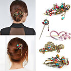 Vintage Women Colorful Crystal Butterfly Flower Hairpin Hair Stick Hair Clip New