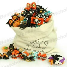 50x Assorted Halloween Dog Hair Bows w/Rubber Band For Pet Cat Puppy Grooming