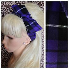 PURPLE BLACK TARTAN CHECK BENDY FABRIC HAIR WRAP WIRED SCARF HEADBAND 50S RETRO