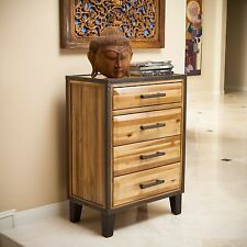 Bedroom Furniture Natural Stain Solid Wood Four Drawer Storage Chest Dresser