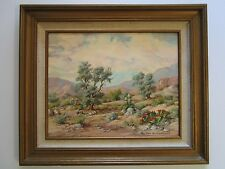 KARL VON WEIDHOFER PAINTING EARLY CALIFORNIA DESERT BLOOM REALISM CACTUS VINTAGE