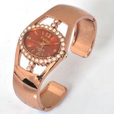 Fashion Lady Rhinestone Crystal Bracelet Bangle Quartz Watch Xmas Gift Rose Gold