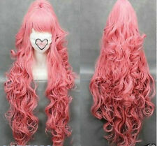HOT VOCALOI D-Megurine Luka PINK Anime Cosplay wig+1Clip On Ponytail