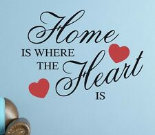 HOME IS WHERE THE HEART IS Wall Sticker Removable Quote Vinyl Art Decal DIY