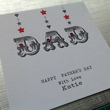 PERSONALISED Handmade FATHERS DAY card DAD with Jewels