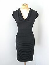 NWT Charlotte Russe Black Knit Sexy Club Dress LBD Ruched Skirt Deep Cowl Neck S