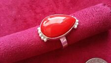 Beautiful Red Coral Pear Shape Ring Real 925  Sterling Silver *Size 10.5 *N041