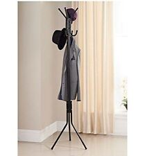 New Home Storage 8 Hook Coat Hat Stand Black Aluminium 172cm