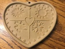 Pottery Stoneware Clay Cookie Paper Butter Chocolate Wax Heart Mold USA 1997
